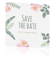 Bohemian watercolor Save the date kaart