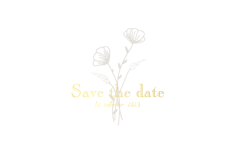 Save the date kaart met bloemen en folie minimalistisch klassiek