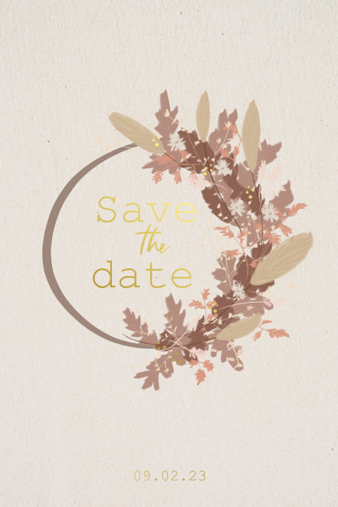 Save the date kaart met droogbloemen krans en folie