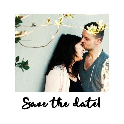 Save the date kaart met polaroid foto