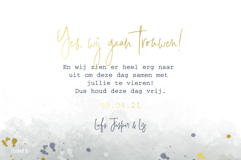Save the date kaart met watercolor vlekken en goudfolie