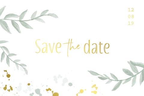 Save the date kaart met watercolor takjes en goudfolie