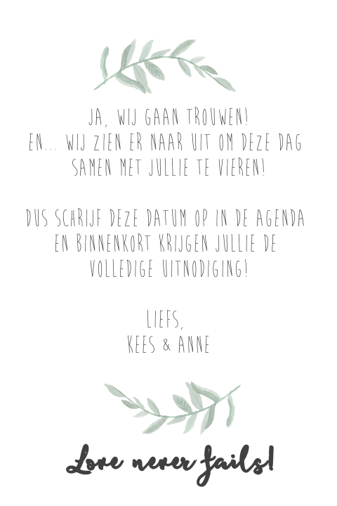 Save the date kaart met foto en watercolor takjes