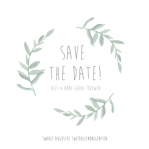 Save the date kaart met watercolor takjes
